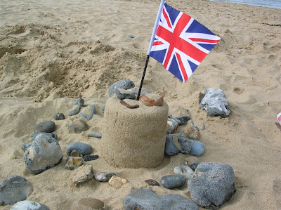 Sand Castle with a Union Jack Flag in the Top