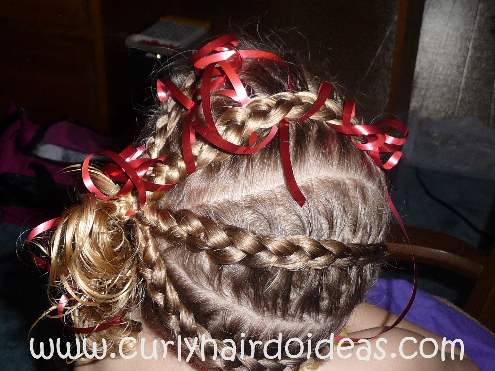 A Christmas Braids and Ribbon Hairstyle for Kids!