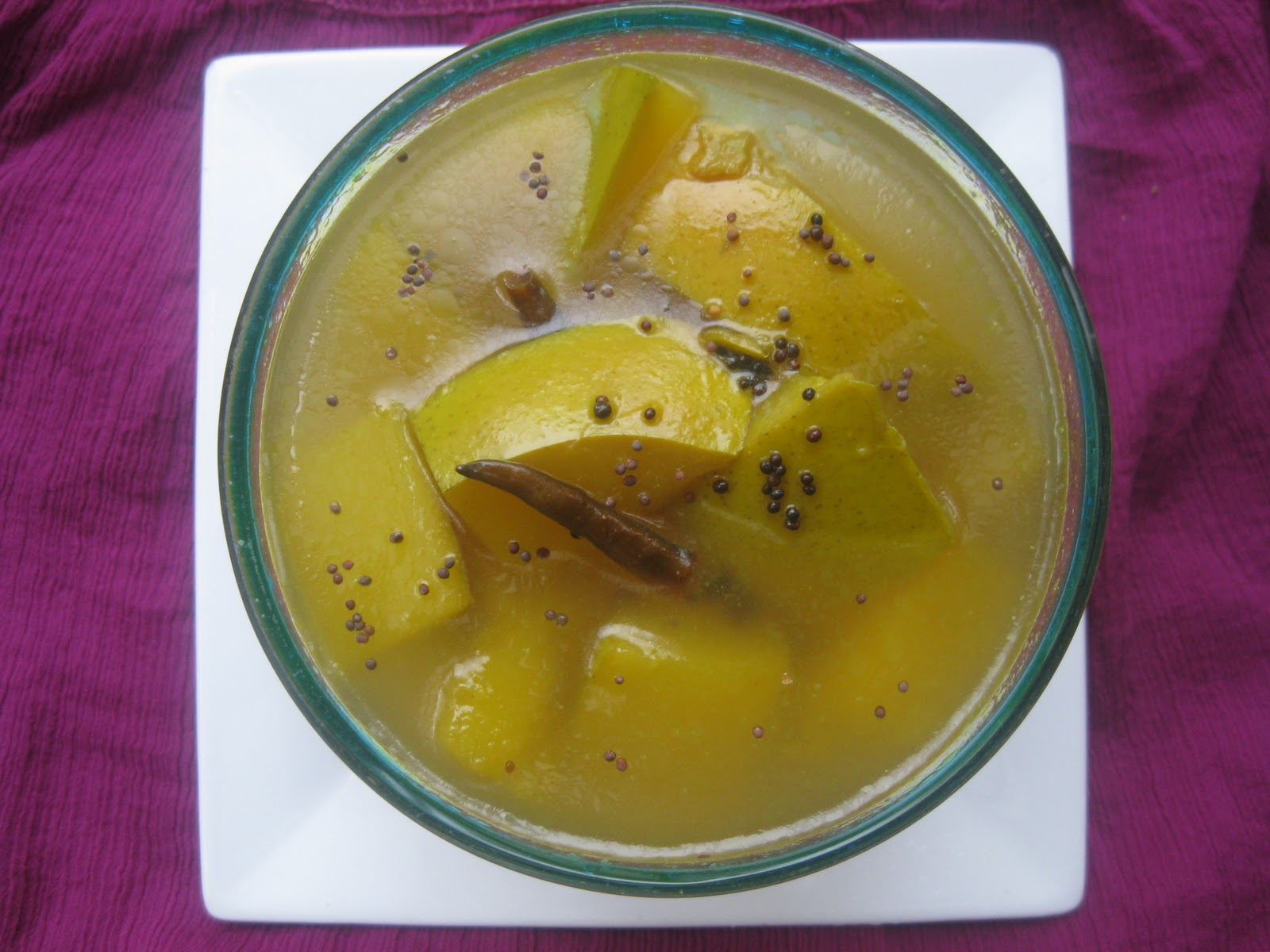 ... begin with the chilled soup: Aamer Ombol – Chilled Green Mango Soup