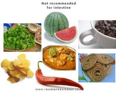 Makanan yang menjejaskan usus jika diambil berlebihan