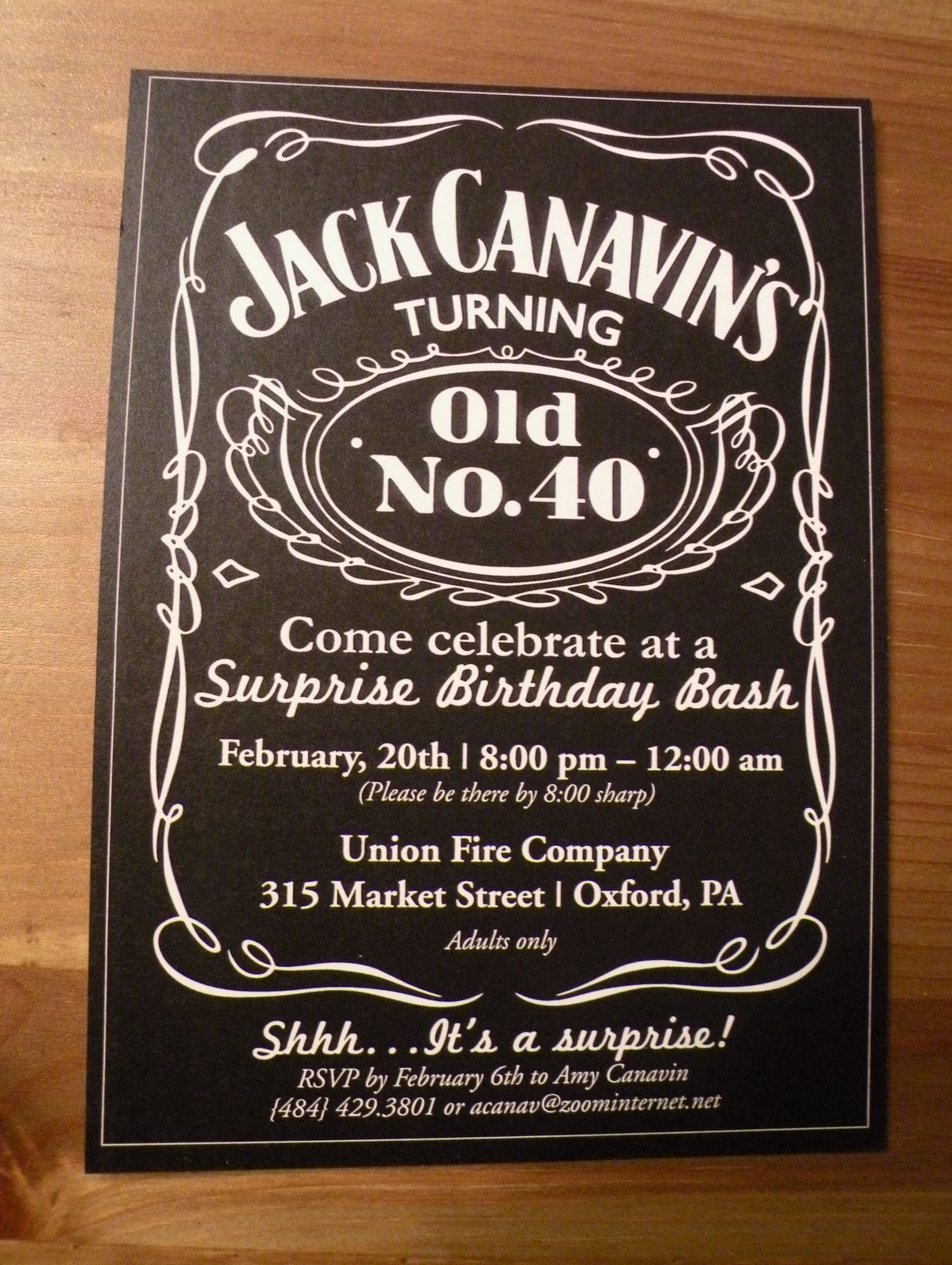 Jack daniel s quot label would make a perfect invitation with a few minor