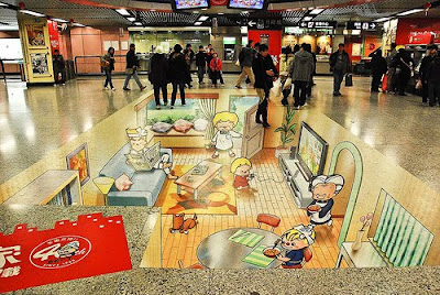 3D Painted Optical Illusion in Hong Kong Station