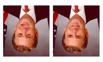 upside down picture george bush picture illusion