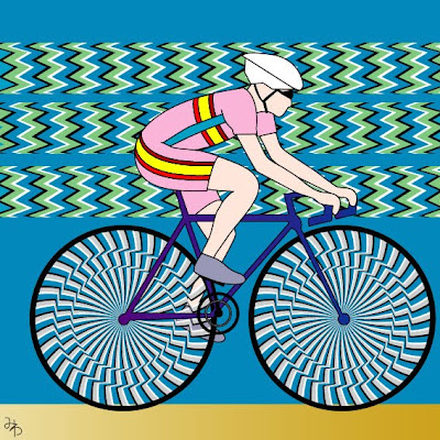 Guy Riding Cycle Illusion - Moving Cycle Illusion