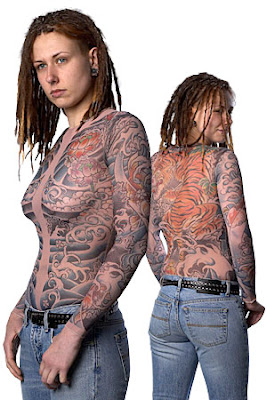 full body tattoo t-shirt optical illusion