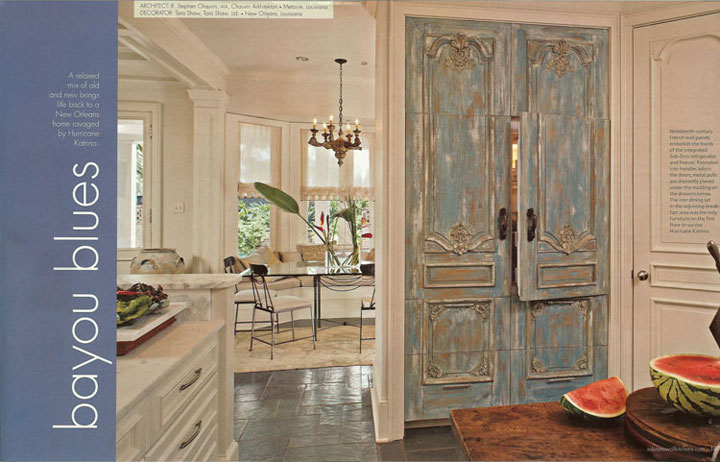 Aqua Blue French Panels From Tara Shaw Maison In A Kitchen