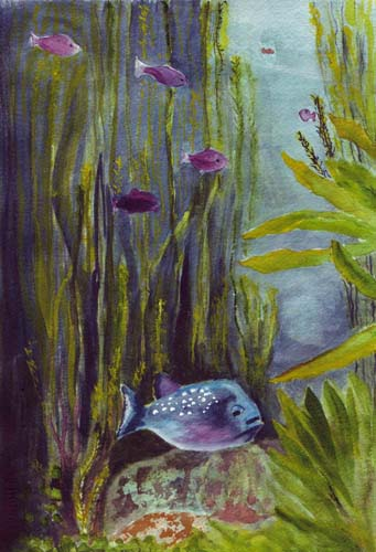 Bunny 39 s artwork fish in aquarium watercolor painting for Fish tank paint