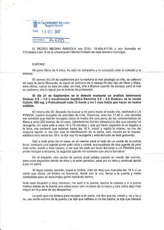 Hoja registro entrada Ayuntamiento Liria