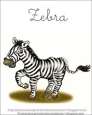 Zebra+1 Alfabeto aprendendo com os animais para crianças