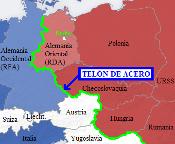 El telón de acero como resultado de la división capitalista-comunista en Europa