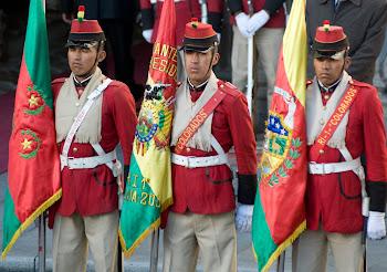 colorados de Bolivia honran a la bandera que desde la fundación fue modificada tres veces. Tricolor