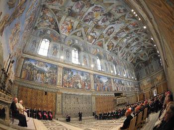 impresionante recinto sagrado en la ciudad del Vaticano. la capilla sixtina que fuera pintada por:
