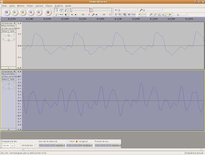 Detall de la forma d'ona d'un La de violí i d'un La de piano
