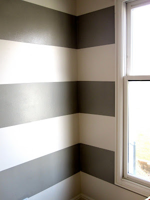 white and gray stripped walls