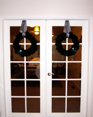 wreath hung on doors