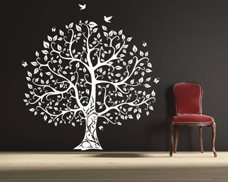 Tumtum tree vinyl wall sticker design for Black tree wall mural
