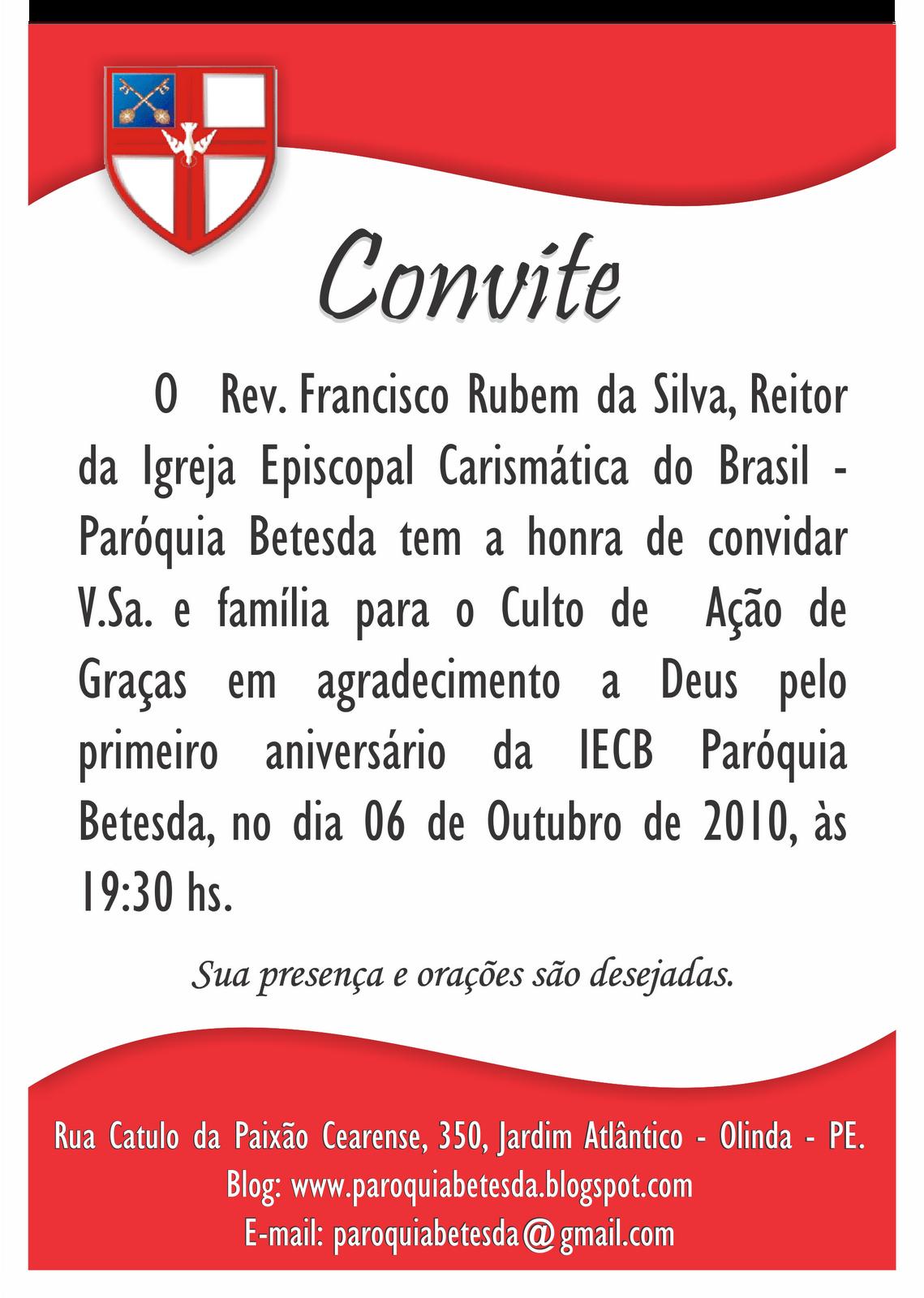 CONVITE - 1º ANIVERSÁRIO DA PARÓQUIA BETESDA - IEC DO BRASIL