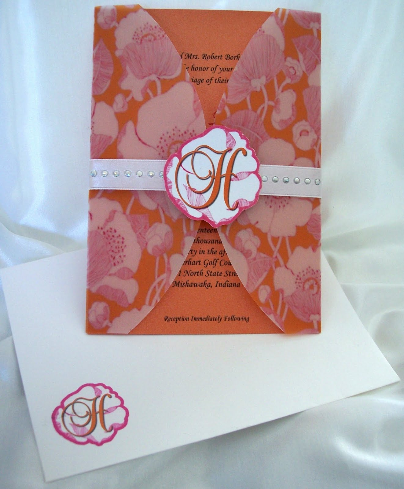 Designs by Ginny: Orange and pink large flowers wedding invite with ...