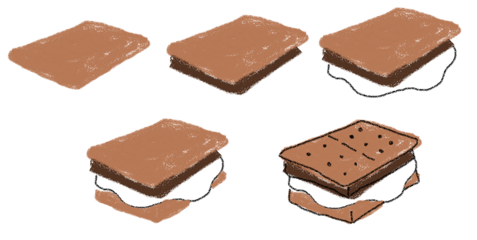how to draw on food: s'mores on self-reflective jumbo marshmallows
