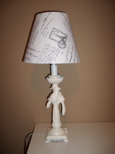Shabby chic and charming lamp shade redo old french writing for Redoing lamp shades