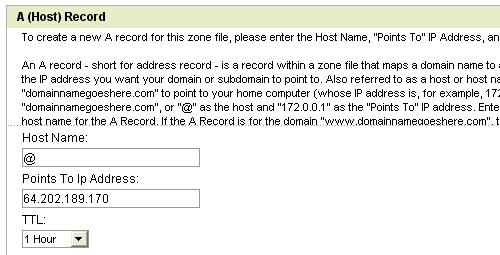 Edit A(Host) Record