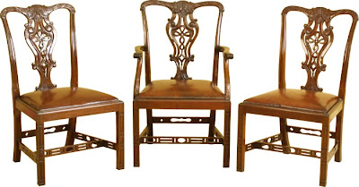 Merveilleux And Hereu0027s A Set Of Chippendale Chairs (note The Chinese Stretchers And  Classic Back Splats):