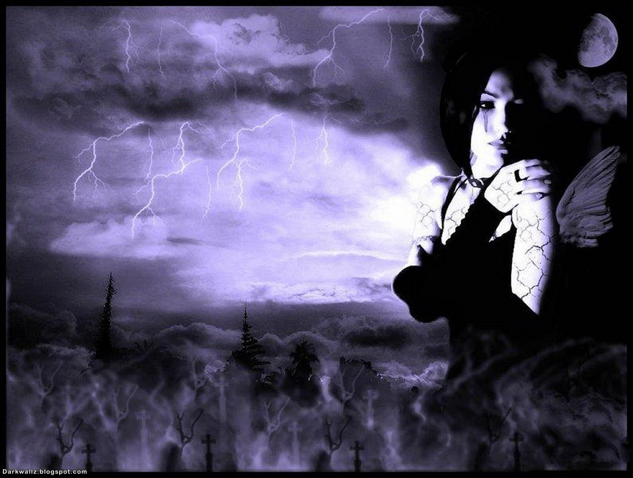Gothic Girl In A Storm | Dark Gothic Wallpaper Download
