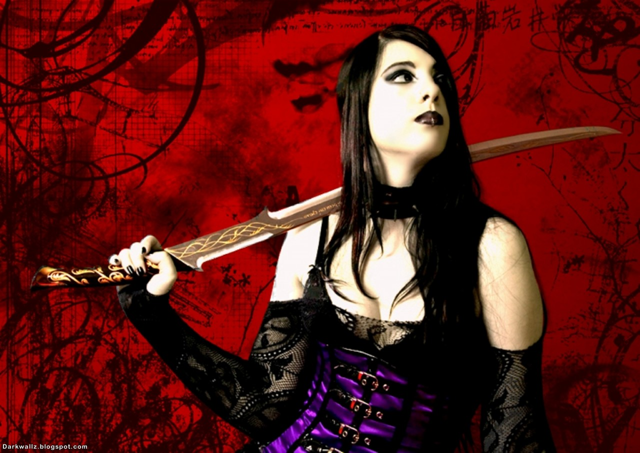 Gothic Girl With Sword | Dark Wallpaper Download