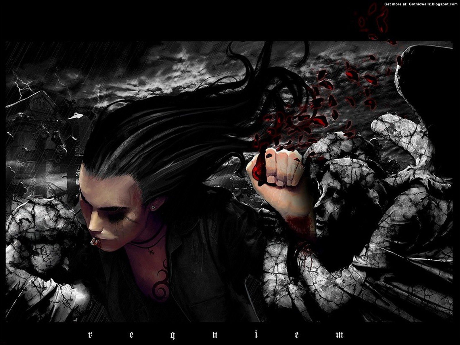 Dark Art Long haired | Gothic Wallpaper Download