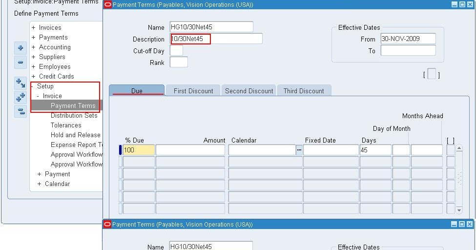 Oracle AppsKeerthipati Defining Payment Terms In R Payables - Invoice payment terms