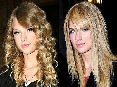 Taylor Swift straight hair with bangs look radiant and gives her a