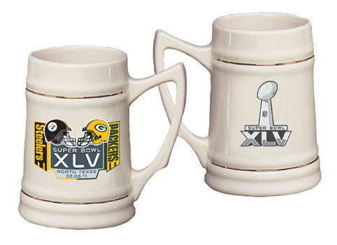 Pittsburgh Steelers vs Green Bay Packers Super Bowl XLV 45 Stoneware Stein.