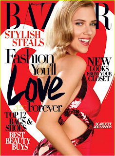 Scarlett Johansson In Red Hot On Harpers Bazaar Magazine