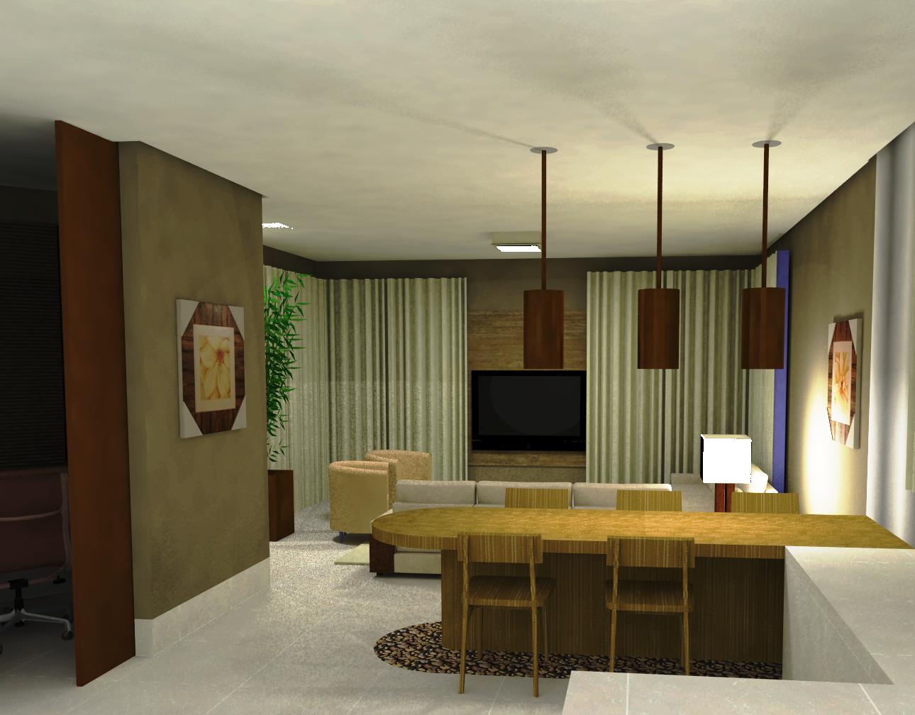 SALA DE ESTAR/JANTAR/COZINHA meu projeto arquitetônico e interiores #9B7730 1290 1008