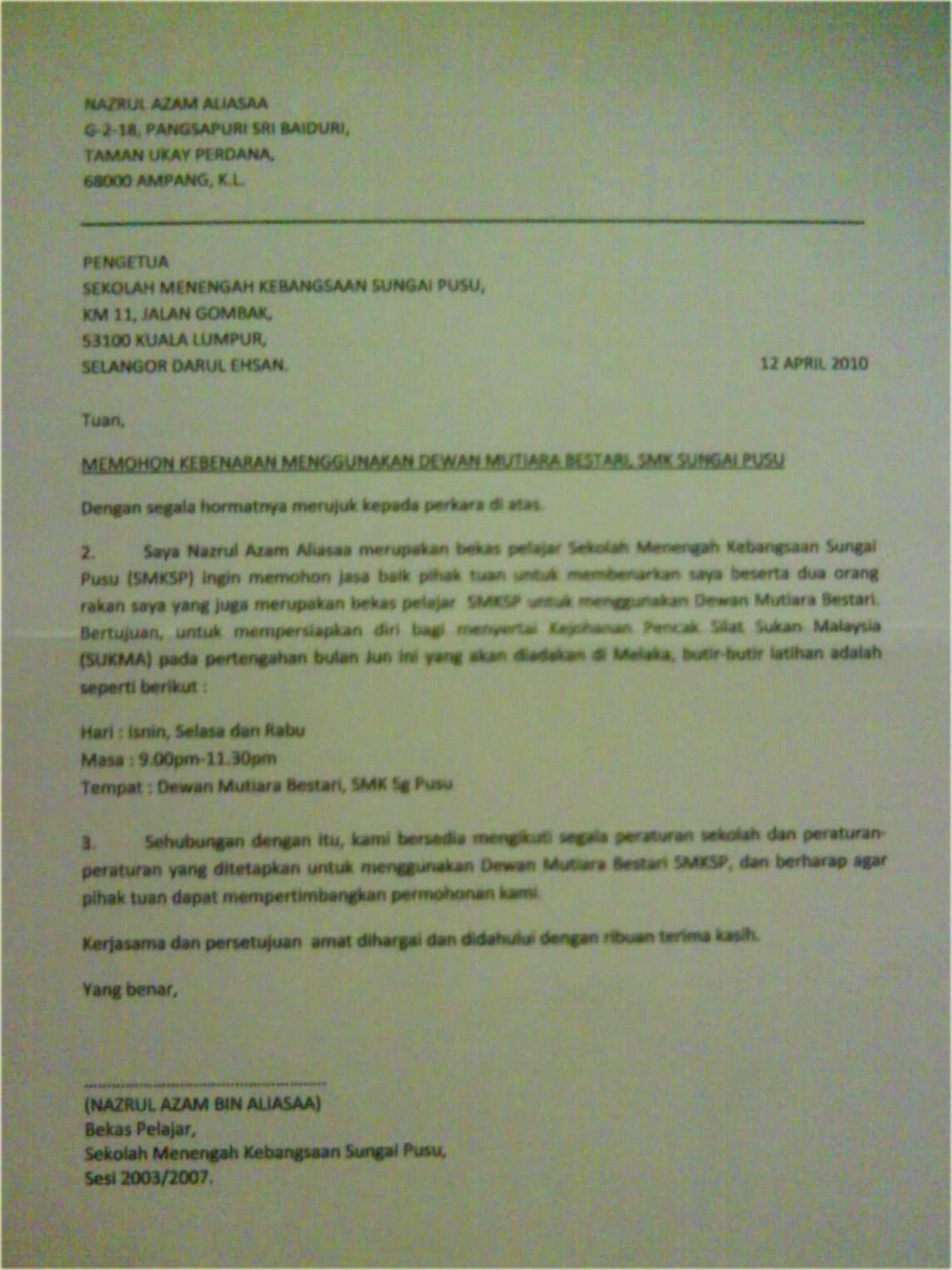 Contoh surat permohonan pertukaran tempat kerja resepi orang kampung