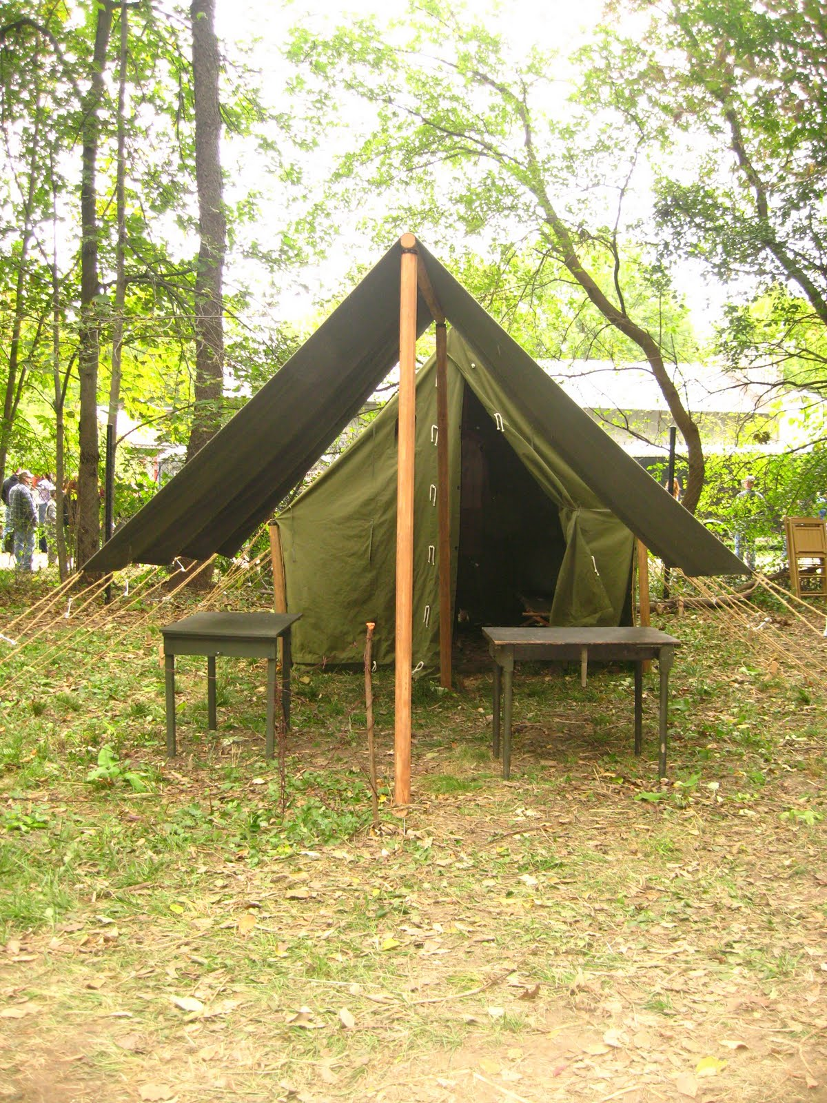 Small Wall Tent with Small Fly up front & Armbruster displays WWII Tents at Rockford WWII Days | Armbruster ...