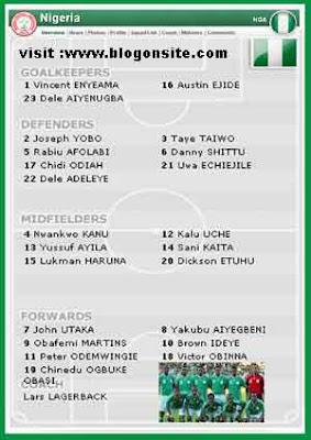 NIGERIA SQUAD WORLD CUP 2010