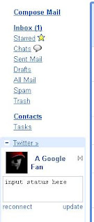 Fully loaded Twitter gadget to gmail