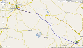 Route from Guntur to Hyderabad with Google Maps