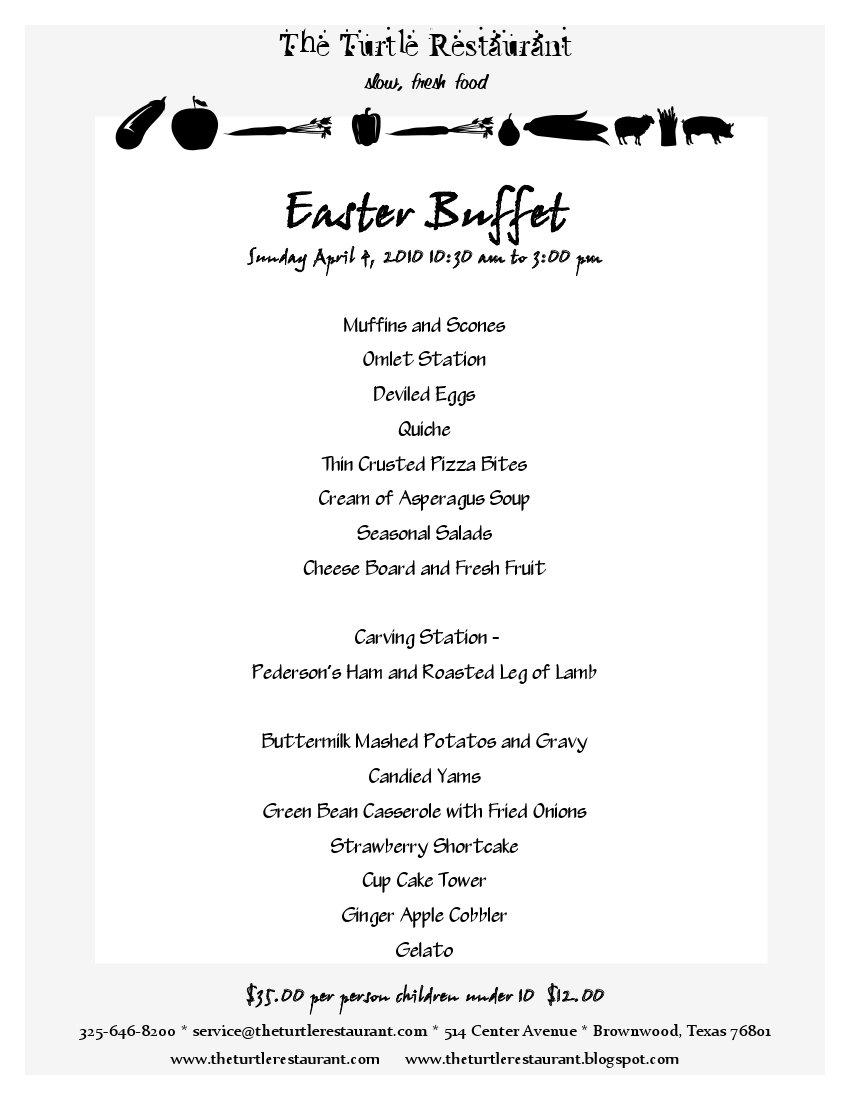 The turtle restaurant eating in the slow lane 2010 for Easter brunch restaurant menus