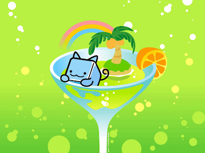 A green square cat kaaii wallpaper
