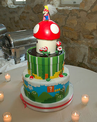 The ultimate wedding cake for all Nintendo fans with Peach and Mario as