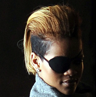 Rihanna Adds Hair Extensions To Her Blonde Mohawk
