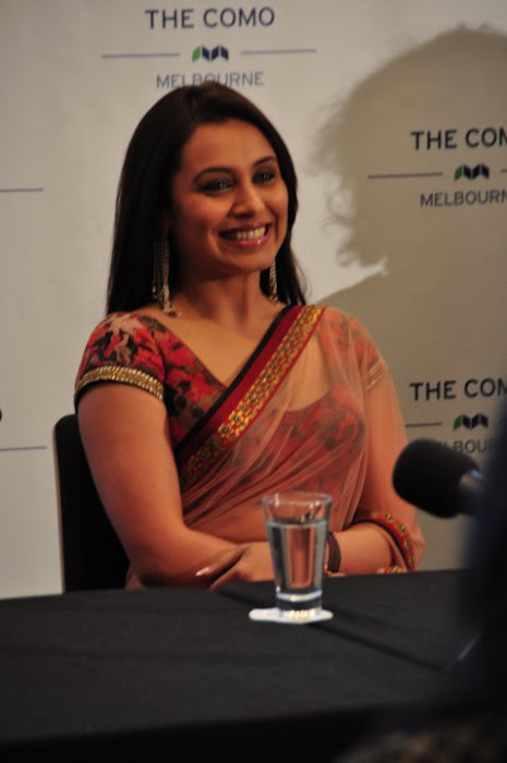 Rani Mukherjee in Red Saree in a Press Media Conference
