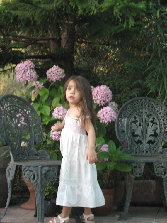 Rafaela posando con las hortensias de su abuelita Chezé