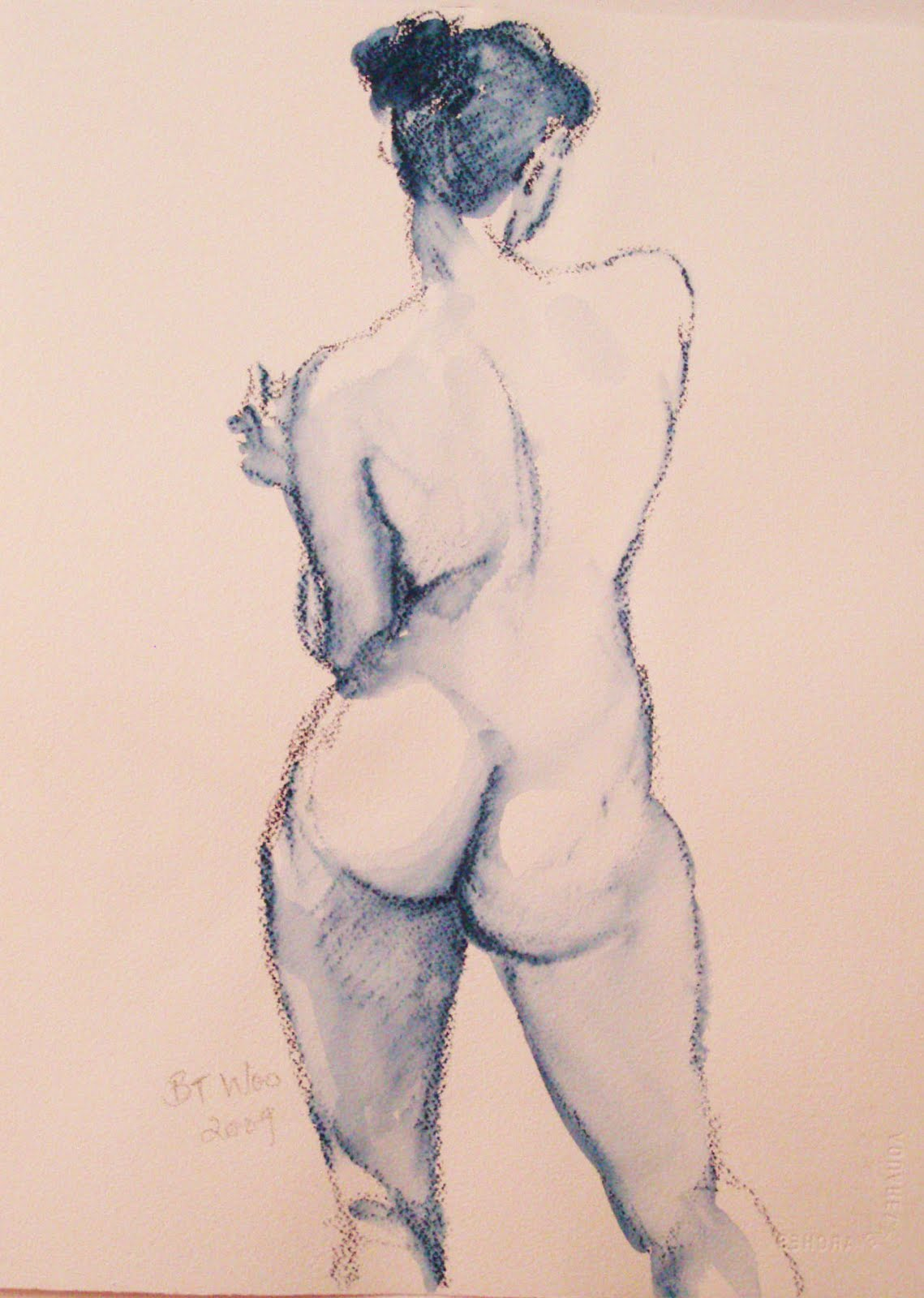 back+view+nude,+watercolour+pastel+drawing hot girls love hot sex lesbian, anal, asian, lingerie anal masturbation, ...
