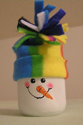 baby food jar snowman
