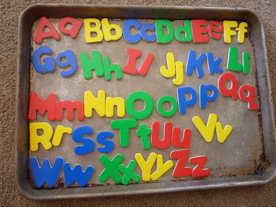 Crafty mama cookie sheet magnet board for Magnetic letters for 1 year old
