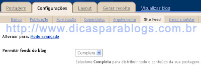 Configurar feed do blog