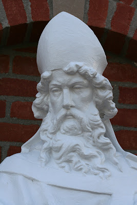 Close up of the head of Saint Patrick Statue